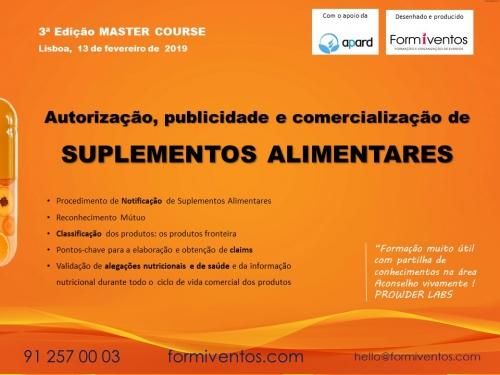 3ª Edição Master Course |Suplementos Alimentares|13 de fevereiro 2019